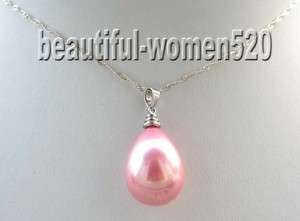 20mm pink seashell drip pearls necklace pendant silver