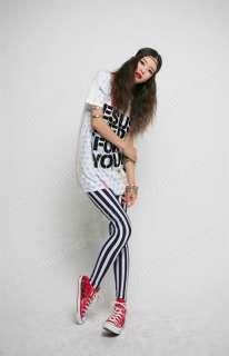 Fashion Chic Look Vertical Stripe Zebra Leggings Tights Legwear