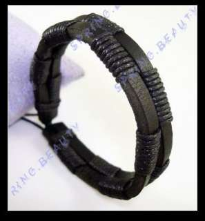 Cool Black Surfer Leather Hemp Bracelet Mens Wristband