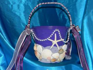 CUSTOM WEDDING FLOWER GIRL BASKET PAIL BEACH! COLORS