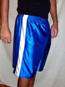 Royal Blue White Durasheen Shiny Basketball Shorts L