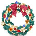 Fantasyard Christmas Bell Christmas Wreath Swarovski Crystal Brooches