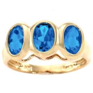 14K Yellow Gold Three Stone Oval Gemstone Ring Swiss Blue Topaz, size5