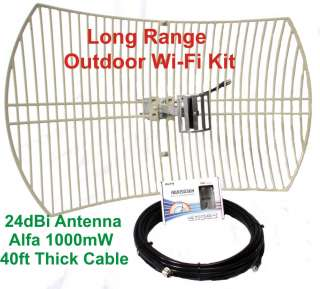outdoor WiFI Kit   USB Adapter Cable and Directional 24dBi antenna