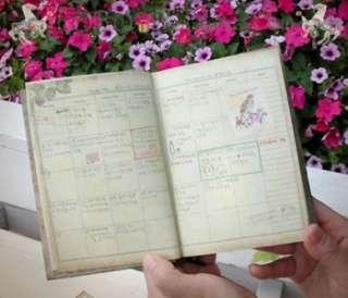 VINTAGE GARDEN Handy Diary Journal Planner Scheduler