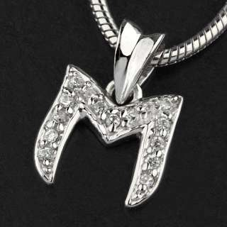 New Women/Men 925 Sterling Silver CZ Initial Letter M Pendants