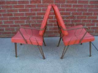 Pair ATOMIC Mid Century Modern Orange Vinyl Eaton Chair