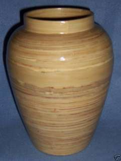 NEW spun BAMBOO VASE large 10 tall Vietnam Natural