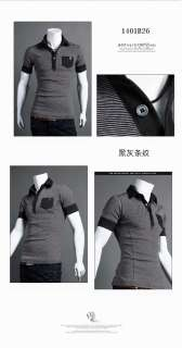 New Mens Casual Stripe Shirt Slim Fit T Shirt 2 Colour 4 Size FF0787