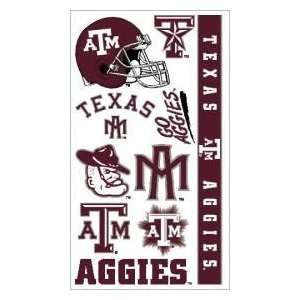 Texas A&M Aggies TAMU NCAA Temporary Tattoos (10 Tattoos): Sports