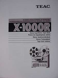 TEAC X 1000R TAPE DECK OWNER MANUAL 58 pages MultiLang