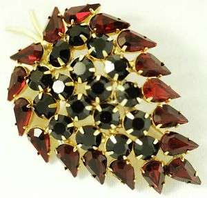 LARGE PRONG SET GARNET & RUBY RHINESTONE BROOCH