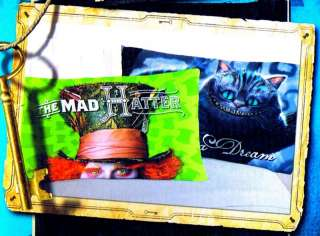 Alice in Wonderland Mad Hatter Cheshire Cat pillowcase