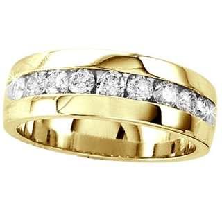 14K MENS DIAMOND WEDDING BAND ROUND CHANNEL RING 1 CT