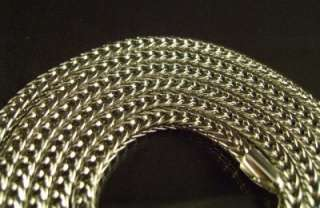 MEN 14k WHITE GOLD EP FRANCO SNAKE CHAIN NECKLACE AVAILABLE IN 24,30