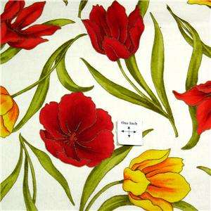 Andover Cotton Fabric Tulips Red Orange & Yellow, Metallic Gold