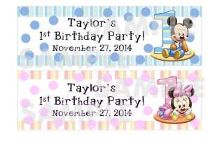 MICKEY MINNIE MOUSE 1st Birthday Party water bottle label wrapper