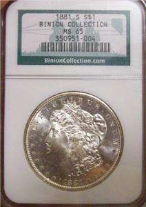 1881 S Morgan Silver Dollar NGC MS 65 Binion Hoard US Coin Collection