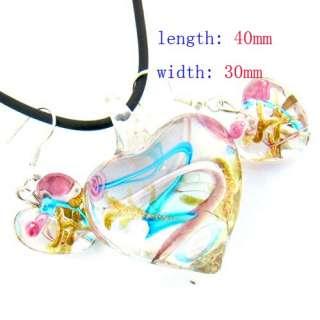 g352 Nice Heart Murano Lampwork Glass Pendant Necklace Earrings Set