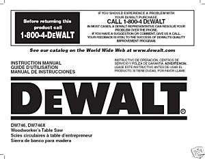 Dewalt Table Saw Instruction Manual Model #DW746 DW746X