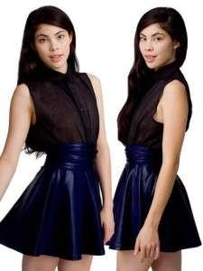 NWT AMERICAN APPAREL Night Fever Navy Blue Shiny high waist full skirt