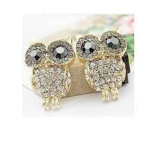 Fashion Womens Crystal Big Eye Owl Earrings Stud