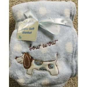 Bow Wow Soft Plush Baby blanket blue with white dots and Dog Applique