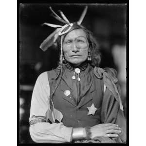 Iron White Man,Sioux Indian,Headdress,Police Badge