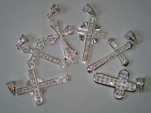Lot of 6 Sterling Silver Rhinestone Cross Pendant Charm