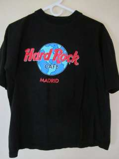 Hard Rock Cafe Madrid Cotton T Shirt. Black Body. Size Medium