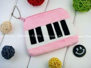 Piano Key Plush Wallet Coin Purse Pocket Pink 26154