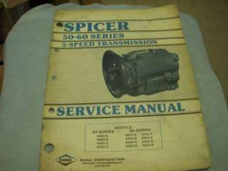 50 60 Series 5 speed Transmission Service Manual 5052 6052 6253