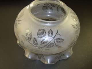VICTORIAN ACID ETCHED GLASS OIL LAMP SHADE