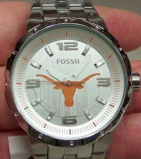 Texas Longhorns Fossil Watch with large centered logo. Silver logo