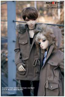 Rabbit hood Safari Jacket(black, beige brown) BJD,70cm,SD17,SD13,MSD