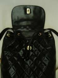 Vintage Leather BACKPACK Black Quilted Matelasse Chain Strap Bag Purse