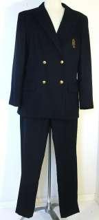 VINTAGE RALPH LAUREN navy blue wool CRESTED BLAZER PANTSUIT size 14