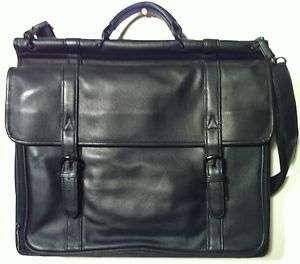 Huge BLACK LEATHER Briefcase Laptop Messenger Bag Case