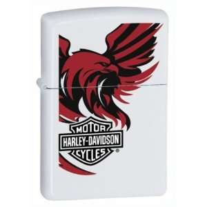 New Zippo Harley Davidson Bar And Shield Eagle White Matte