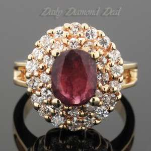 14K Yellow Gold Womens Ruby Diamond Cocktail Ring 1 CT