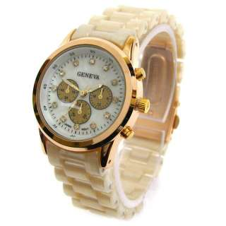 PEARL ROSE/GOLD GENEVA Designer Style Womens Bracelet WATCH