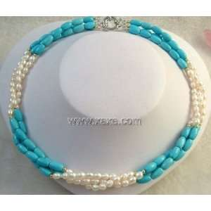 Real White Freshwater Pearl & Blue Turquoise Necklace