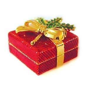 24k Gold Plated, Pewter Red Enameled Christmas Gift Box