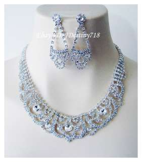 Wedding Bridal Crystal Necklace Earrings Set Prom A1110