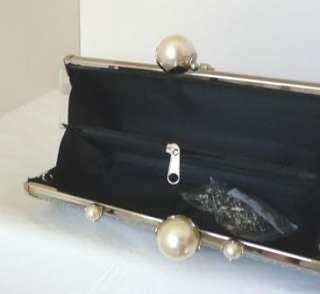 CUTE SILVER PEARL SPARKLE PROM WEDDING CLUTCH PURSE BAG