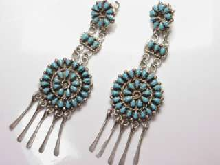 ZUNI SLEEPING BEAUTY TURQUOISE AND STERLING CHANDELIER EARRINGS