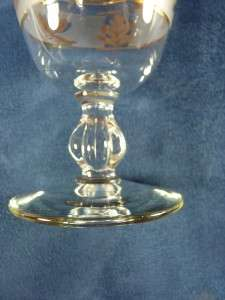 Retro Gold Leaf Crystal Wine Glasses
