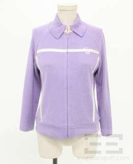 St. John Sport Lavender White Ribbon Trim Jacket Size Petite