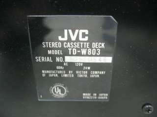 JVC TD W803 Stereo Dual Cassette Deck