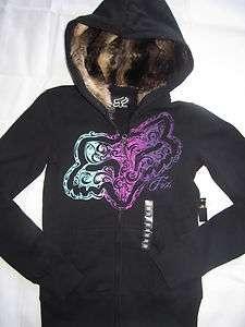 New Womens/Girls Fox Racing Black Fur Lined 2 Graphic Hoodie Zip